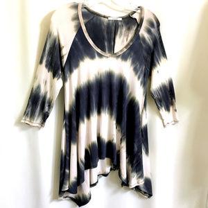 Tie Dye Asymmetrical Knit Top Shirt - New